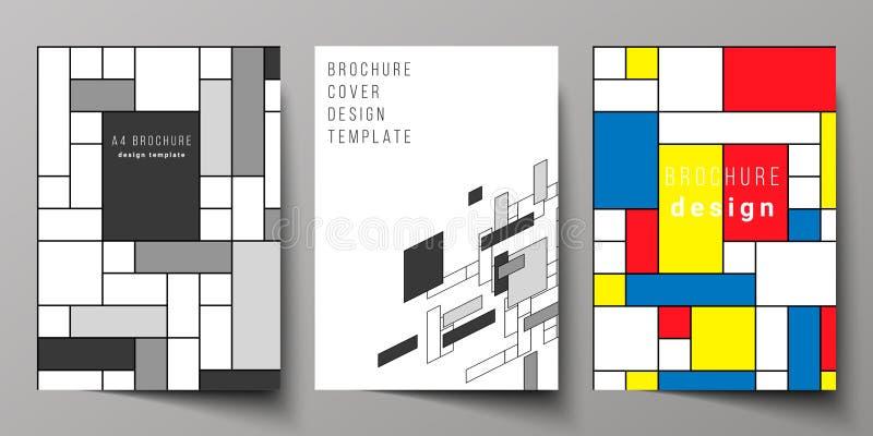 Το διανυσματικό σχεδιάγραμμα A4 σχηματοποιεί τα σύγχρονα πρότυπα σχεδίου προτύπων κάλυψης για το φυλλάδιο, ιπτάμενο, βιβλιάριο, ε διανυσματική απεικόνιση