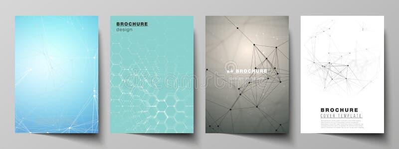 Το διανυσματικό σχεδιάγραμμα A4 των προτύπων κάλυψης σχήματος σχεδιάζει τα πρότυπα για το φυλλάδιο, ιπτάμενο, έκθεση Τεχνολογία,  ελεύθερη απεικόνιση δικαιώματος