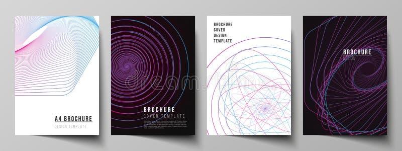 Το διανυσματικό σχεδιάγραμμα A4 των προτύπων κάλυψης σχήματος σχεδιάζει τα πρότυπα για το φυλλάδιο, ιπτάμενο, βιβλιάριο, έκθεση Τ απεικόνιση αποθεμάτων