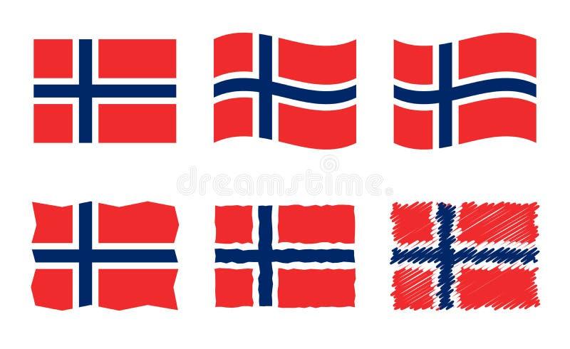 Το διανυσματικό σύνολο απεικόνισης σημαιών της Νορβηγίας, επίσημα χρώματα του βασίλειου της Νορβηγίας σημαιοστολίζει διανυσματική απεικόνιση