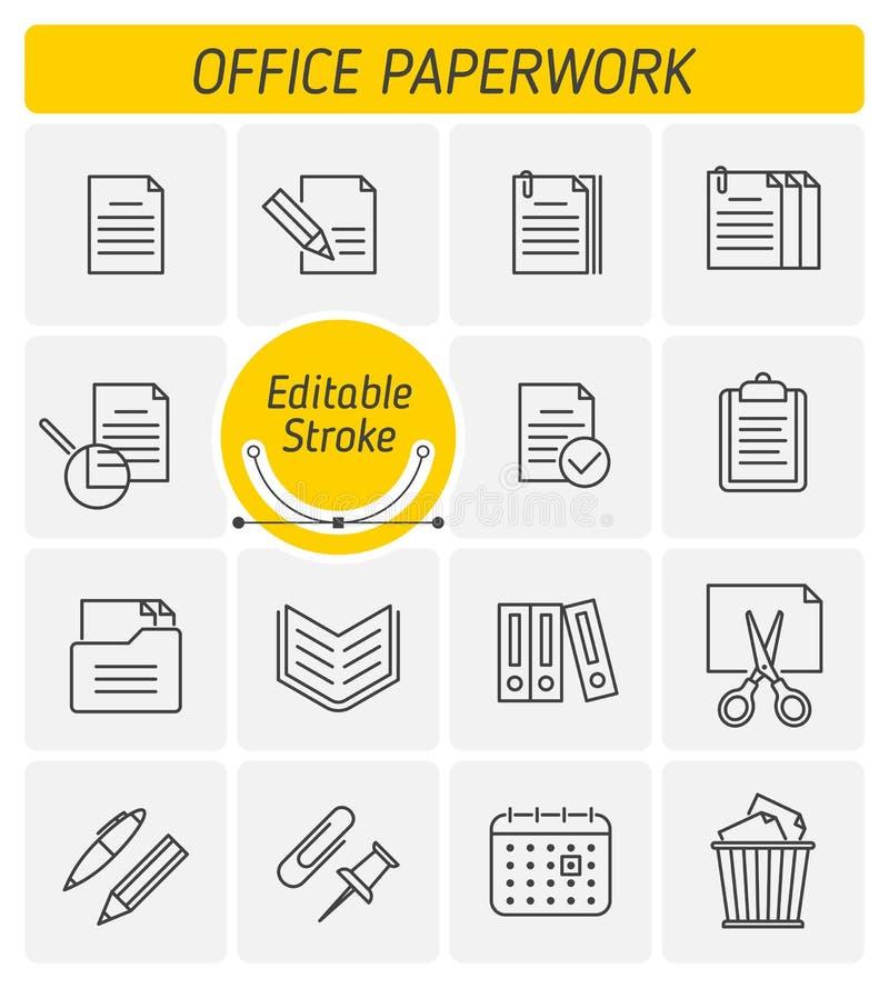 Το διανυσματικό σύνολο εικονιδίων περιλήψεων γραφικής εργασίας γραφείων απεικόνιση αποθεμάτων