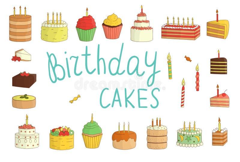 Το διανυσματικό σύνολο ζωηρόχρωμων κέικ με τα κεριά, μπαλόνια, παρουσιάζει απεικόνιση αποθεμάτων