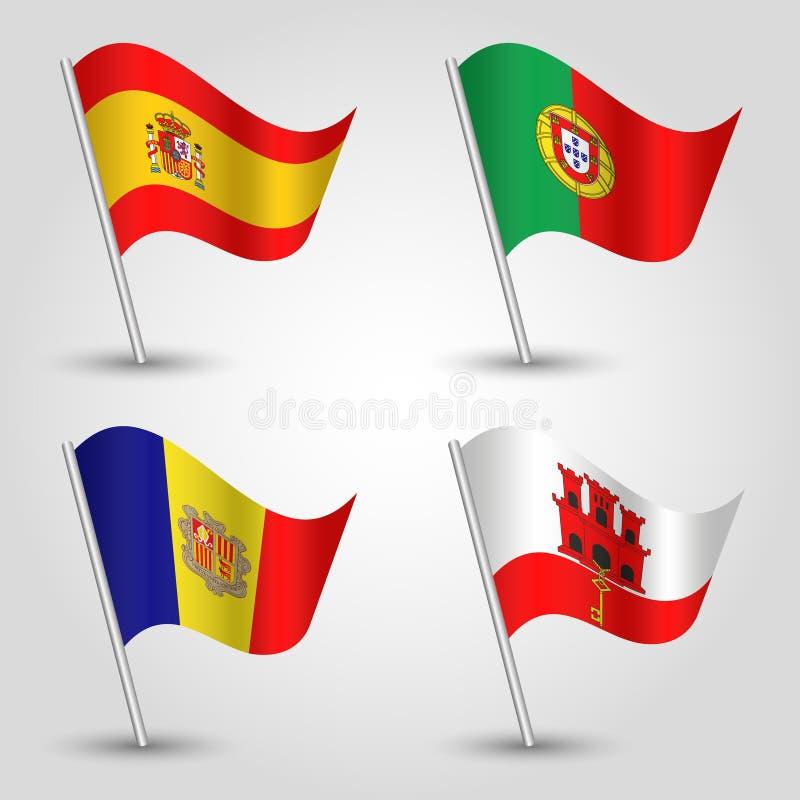 Το διανυσματικό σύνολο κυματισμού σημαιοστολίζει το νοτιοδυτικό ασημένιο πόλο της Ευρώπης - εικονίδιο των κρατών Ισπανία, Πορτογα απεικόνιση αποθεμάτων