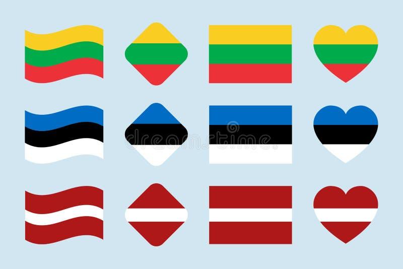 Το διανυσματικό σύνολο σημαιών Βαλτικών Χωρών Συλλογή εθνικών σημαιών της Λιθουανίας, Εσθονία, Λετονία Οριζόντια απομονωμένα εικο απεικόνιση αποθεμάτων