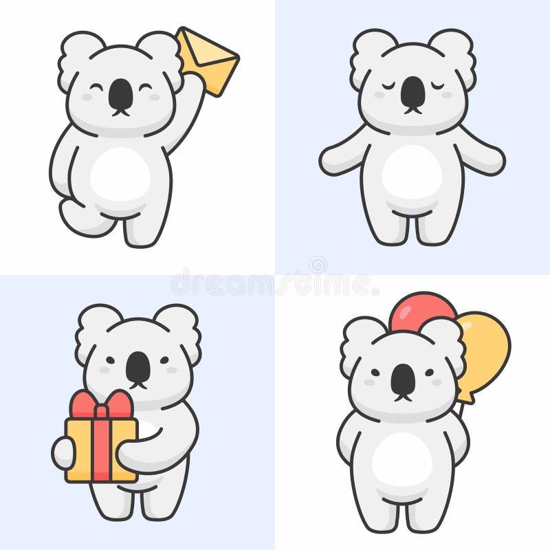 Το διανυσματικό σύνολο χαριτωμένου koala αντέχει τους χαρακτήρες διανυσματική απεικόνιση