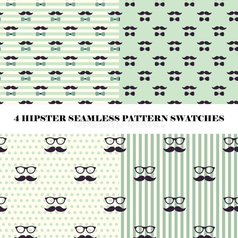 Το διανυσματικό σύνολο hipster 4 άνευ ραφής επαναλαμβάνει swatches σχεδίων ελεύθερη απεικόνιση δικαιώματος