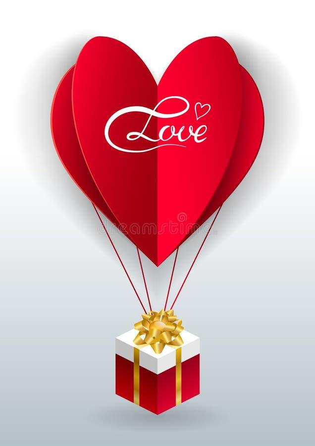 Το διανυσματικό υπόβαθρο ημέρας βαλεντίνων με τις κομμένες καρδιές εγγράφου, origami έκανε το μπαλόνι ζεστού αέρα, το κιβώτιο δώρ ελεύθερη απεικόνιση δικαιώματος