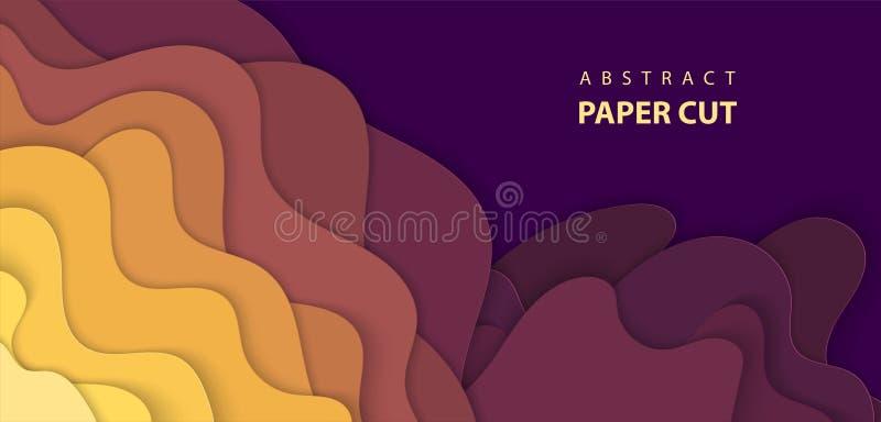 Το διανυσματικό υπόβαθρο με το πολύχρωμο έγγραφο έκοψε τις μορφές τρισδιάστατη περίληψη ελεύθερη απεικόνιση δικαιώματος