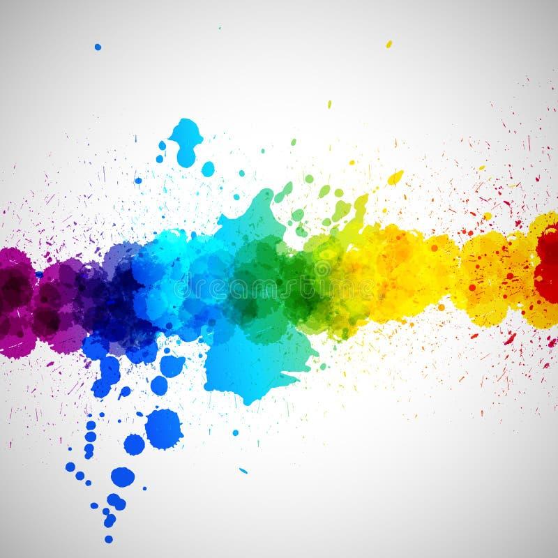 Το διανυσματικό υπόβαθρο Holi, αφαιρεί τους ζωηρόχρωμους λεκέδες χρωμάτων παφλασμών ελεύθερη απεικόνιση δικαιώματος