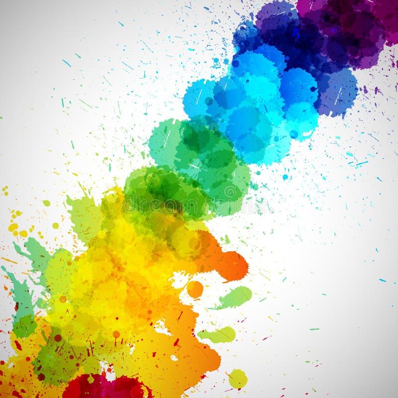 Το διανυσματικό υπόβαθρο Holi, αφαιρεί τους ζωηρόχρωμους λεκέδες χρωμάτων παφλασμών διανυσματική απεικόνιση