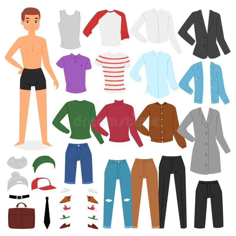 Το διανυσματικό φόρεμα χαρακτήρα αγοριών ιματισμού ατόμων επάνω στα ενδύματα με τη μόδα ασθμαίνει ή απεικόνισης παπουτσιών αγορίσ διανυσματική απεικόνιση