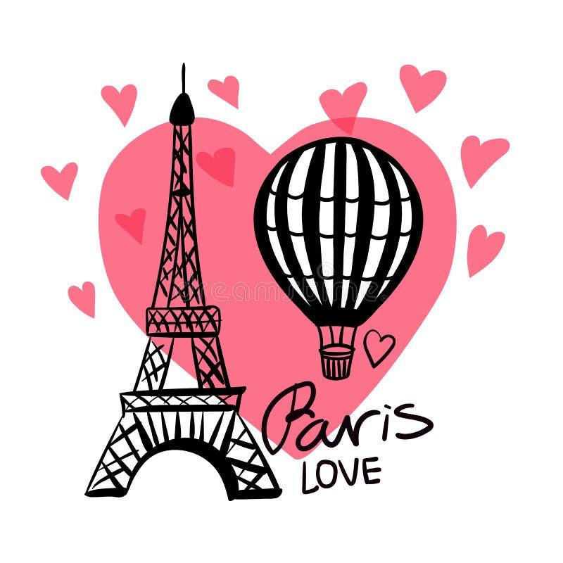 Το διανυσματικό χέρι επισύρει την προσοχή το μπαλόνι αέρα και τον πύργο του Παρισιού Άιφελ που απομονώνονται στη ρόδινη καρδιά διανυσματική απεικόνιση