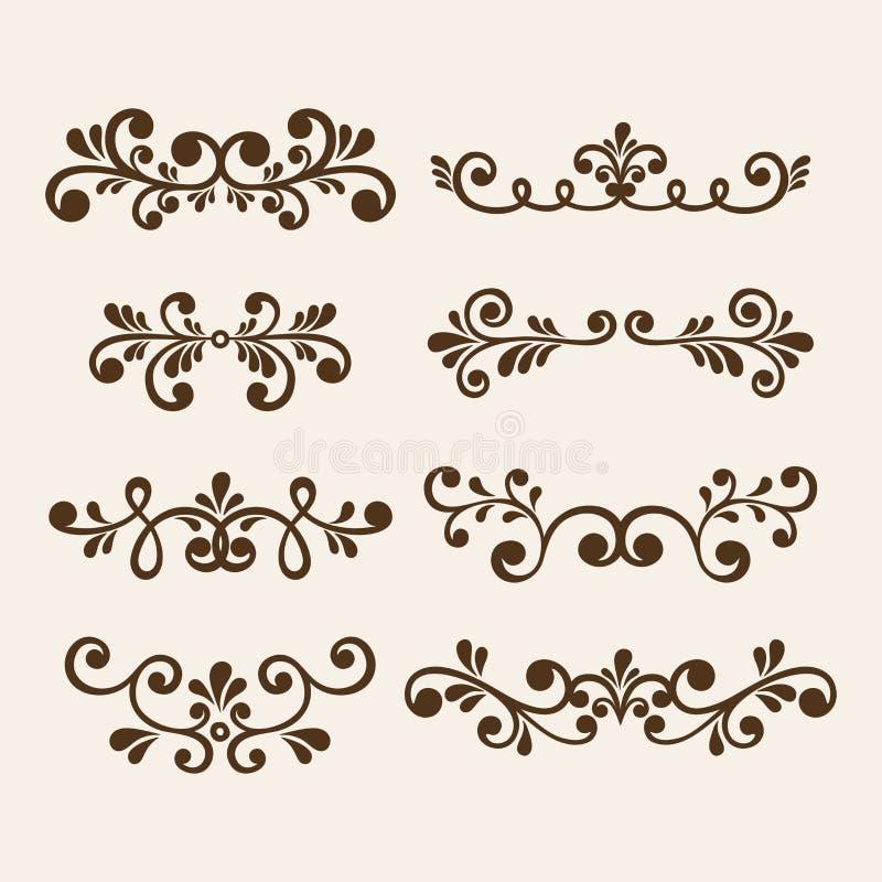 Το διανυσματικό χέρι σύρει τα εκλεκτής ποιότητας floral στοιχεία σχεδίου Διακοσμητικά στοιχεία λουλουδιών Floral στοιχεία για το  απεικόνιση αποθεμάτων
