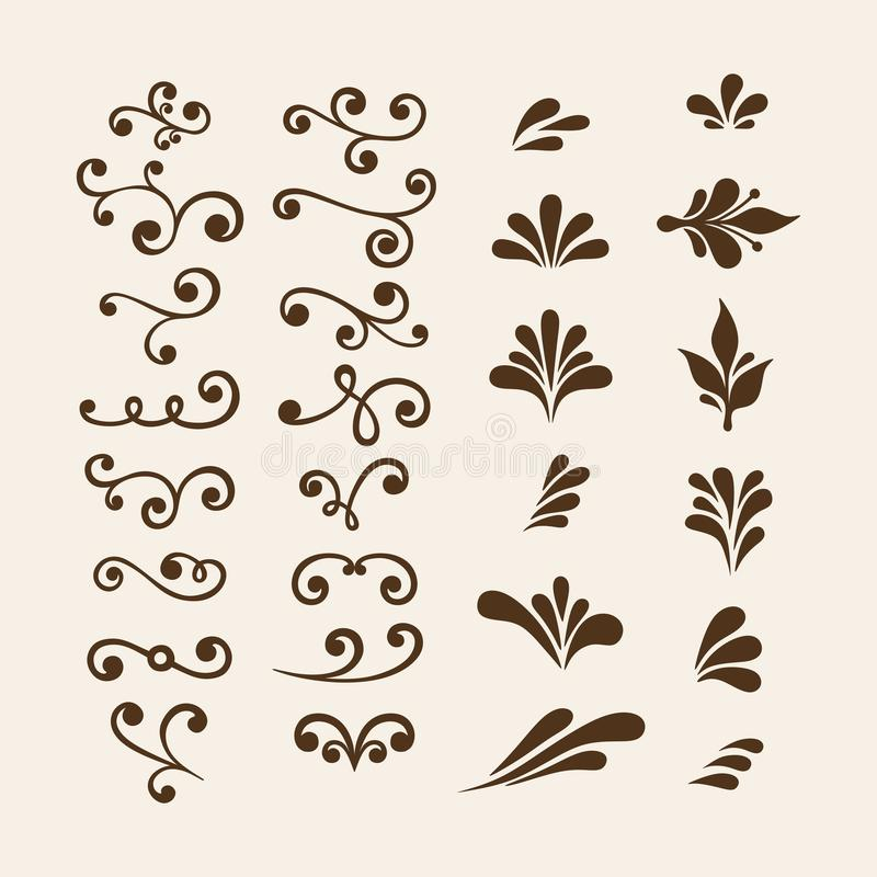 Το διανυσματικό χέρι σύρει τα εκλεκτής ποιότητας floral στοιχεία σχεδίου Διακοσμητικά στοιχεία λουλουδιών Floral στοιχεία για το  διανυσματική απεικόνιση