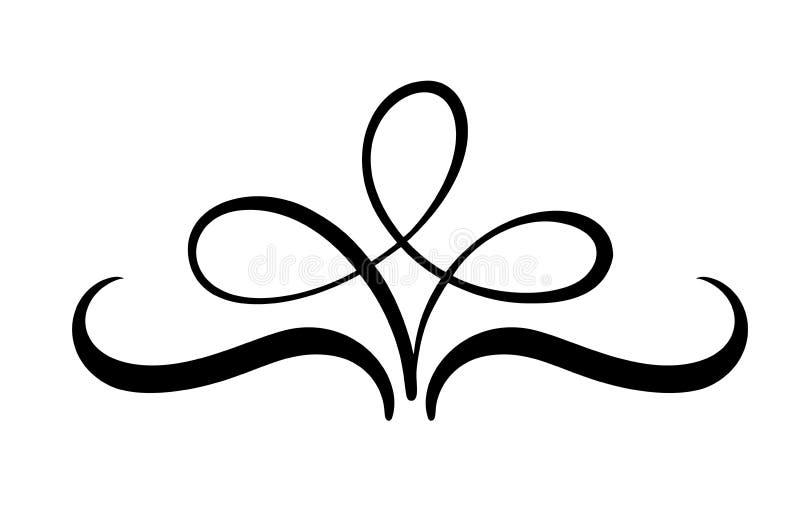 Το διανυσματικό floral στοιχείο καλλιγραφίας ακμάζει, διαιρέτης για τη διακόσμηση σελίδων και στρόβιλος απεικόνισης σχεδίου πλαισ διανυσματική απεικόνιση