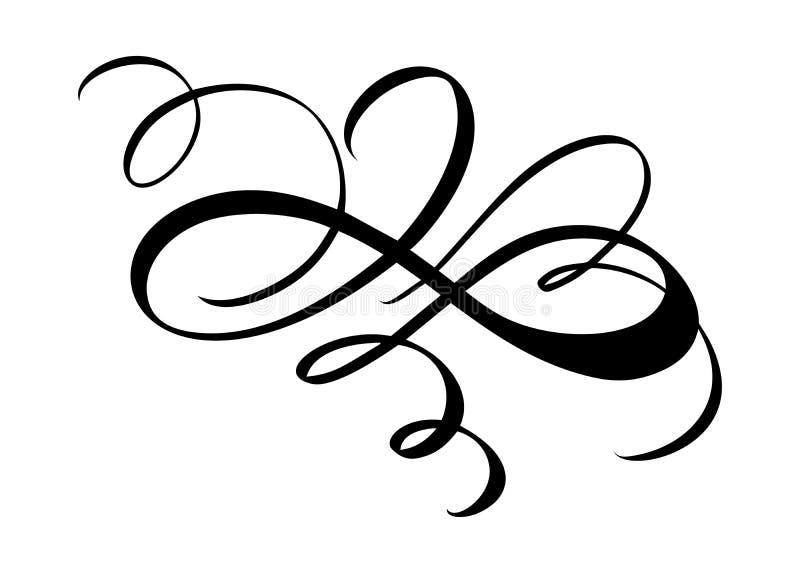 Το διανυσματικό floral στοιχείο καλλιγραφίας ακμάζει Συρμένος χέρι διαιρέτης για το στρόβιλο διακοσμήσεων σελίδων και απεικόνισης απεικόνιση αποθεμάτων