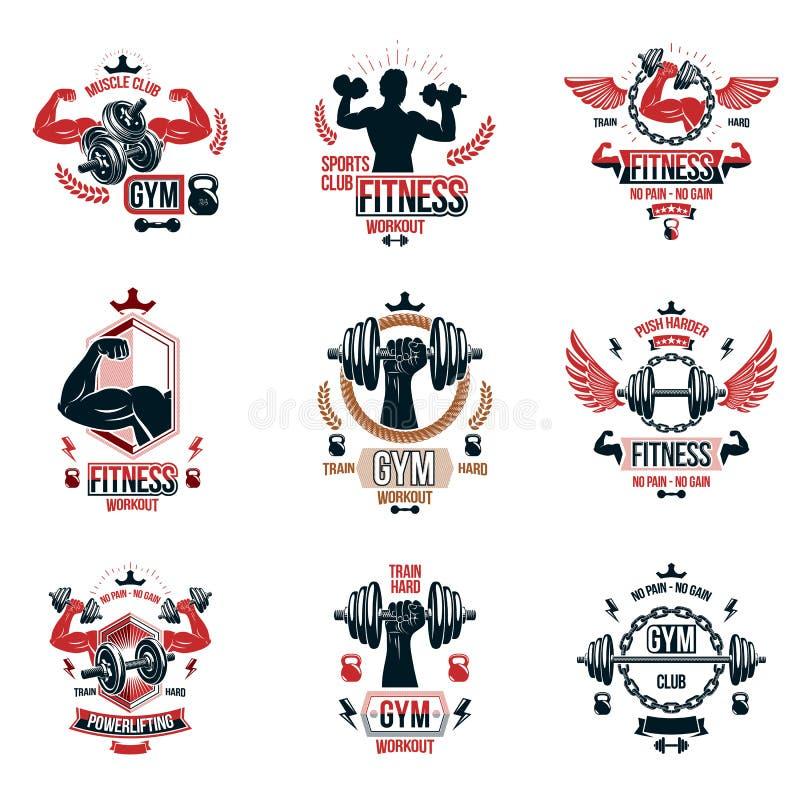 Το διανυσματικό weightlifting θέμα logotypes και η εμπνευσμένη συλλογή φυλλάδιων έκαναν τη χρησιμοποίηση των αλτήρων, barbells, α διανυσματική απεικόνιση