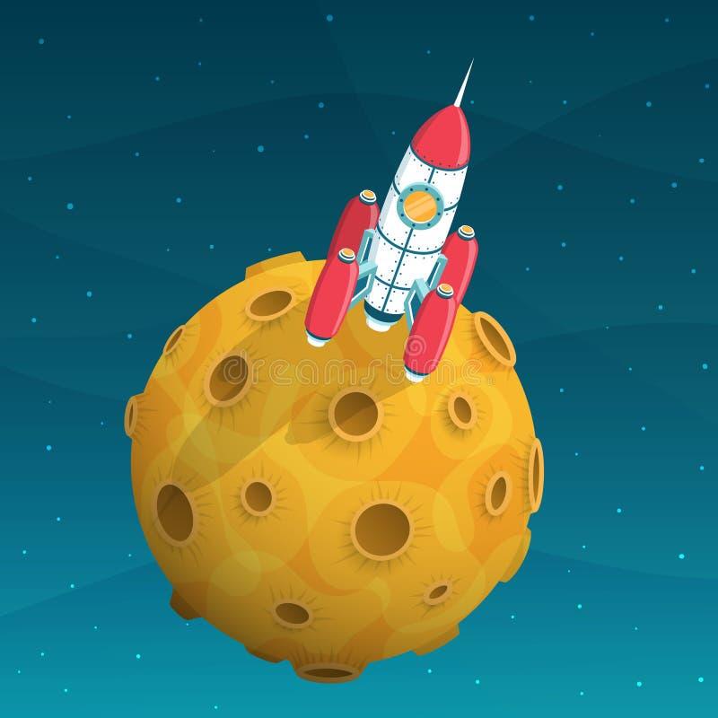 Το διαστημικό σκάφος πυραύλων είναι στον κίτρινο πλανήτη με τους κρατήρες διανυσματική απεικόνιση