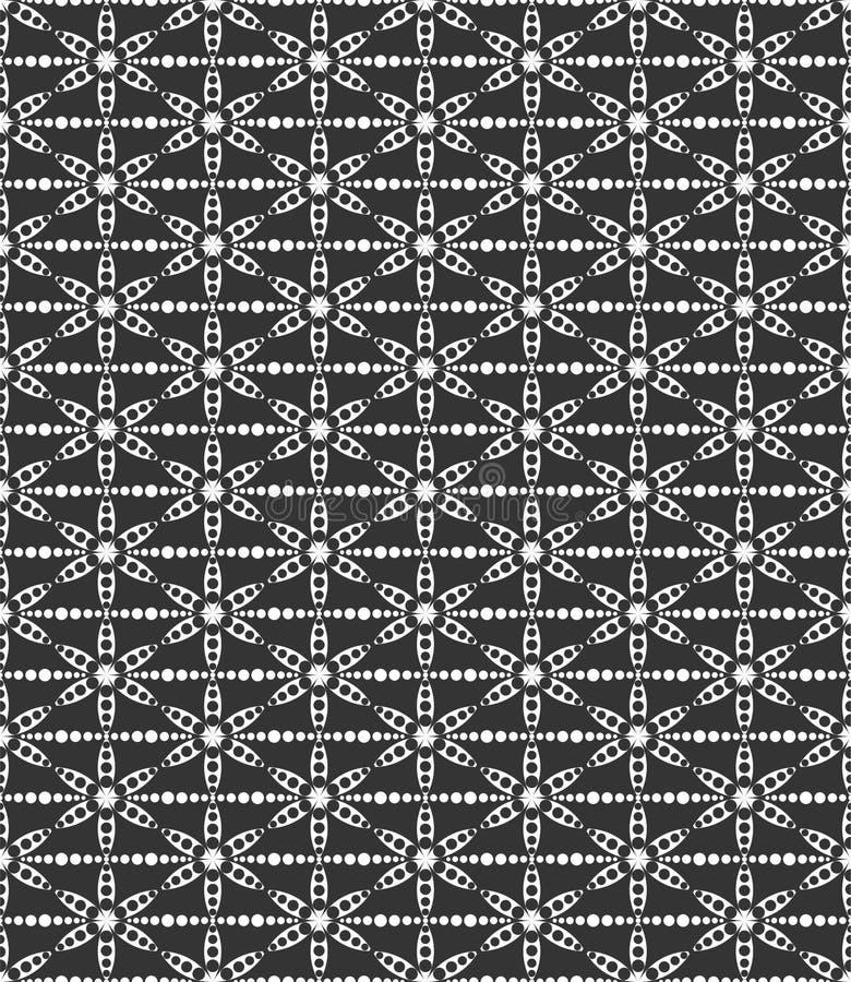 Το διαστιγμένο μοτίβο λουλουδιών επανέλαβε τη διανυσματική απεικόνιση σχεδίων φύλλων στο μαύρο μόριο ν απεικόνιση αποθεμάτων