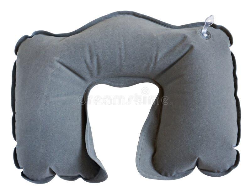 Το διογκώσιμο λαστιχένιο μαξιλάρι φοριέται γύρω από το λαιμό στον ύπνο στο θόριο στοκ εικόνες