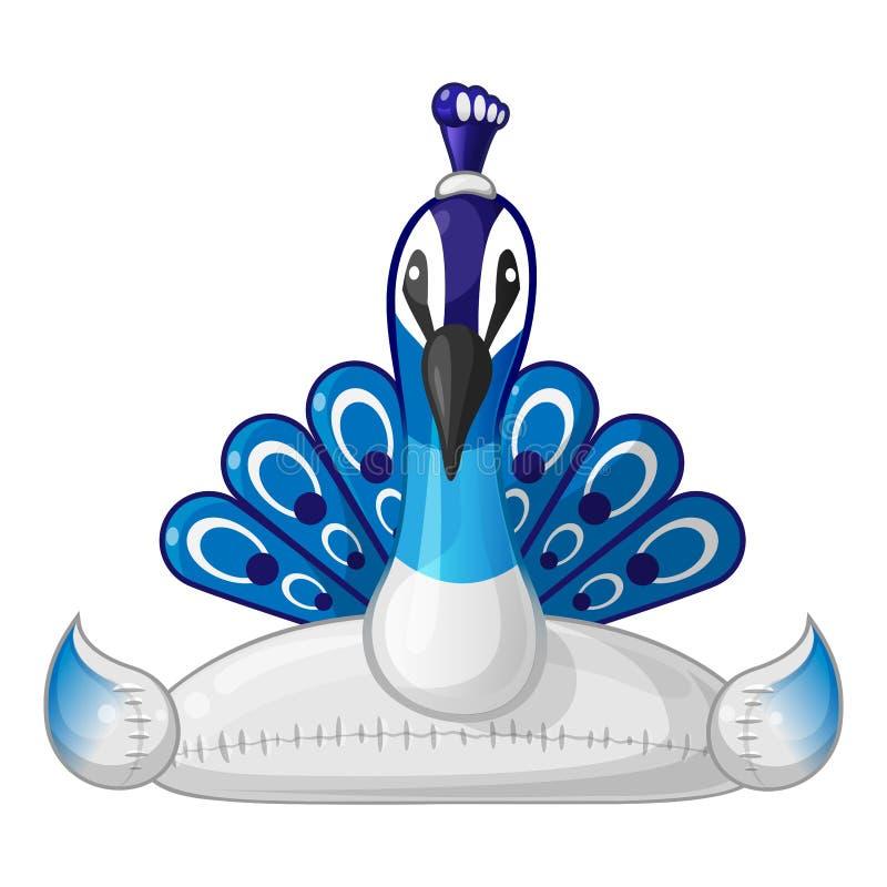 Το διογκώσιμο peacock κολυμπά το επιπλέον σώμα δαχτυλιδιών - ύφος κινούμενων σχεδίων μπροστινής άποψης ελεύθερη απεικόνιση δικαιώματος