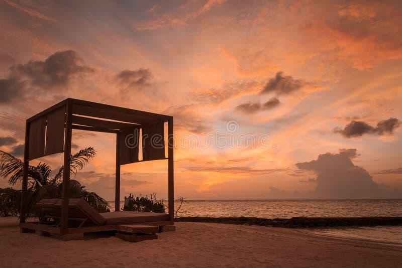 Το διπλάσιο η σκιαγραφία κατά τη διάρκεια του ηλιοβασιλέματος σε μια τροπική θέση στοκ φωτογραφίες