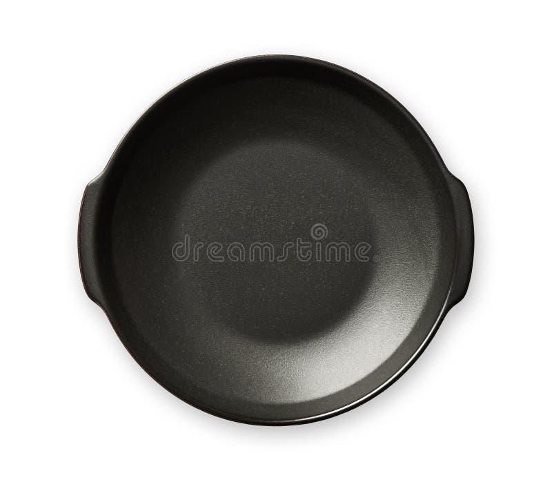 Το διπλάσιο χειρίστηκε το πιάτο, κενά μαύρα πιάτα κεραμικής, άποψη που απομονώθηκε άνωθεν στο άσπρο υπόβαθρο με το ψαλίδισμα της  στοκ εικόνα
