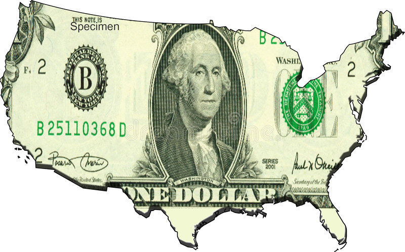 το δολάριο δηλώνει ενωμέ&nu ελεύθερη απεικόνιση δικαιώματος