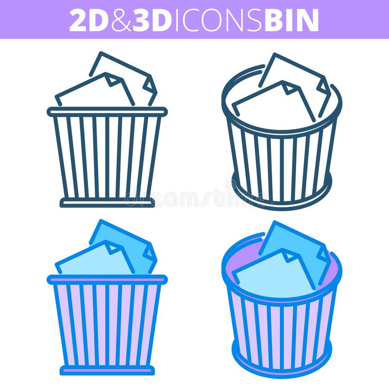 Το δοχείο αποβλήτων Επίπεδο και isometric τρισδιάστατο σύνολο εικονιδίων περιλήψεων απεικόνιση αποθεμάτων