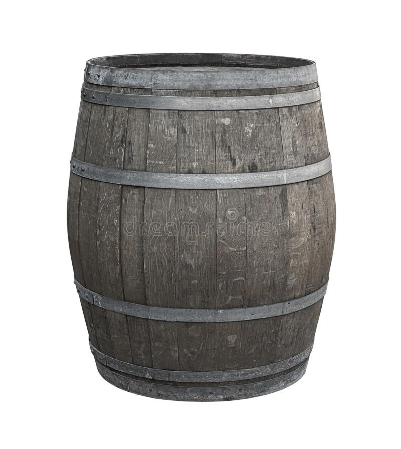 Το δρύινο βαρέλι ένα σε ένα άσπρο υπόβαθρο τόνισε γκρίζο κρασιού tincture ουίσκυ παραγωγής ηλικίας των πνευμάτων για να δώσει τη  στοκ φωτογραφία με δικαίωμα ελεύθερης χρήσης