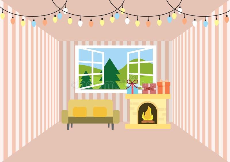Το δωμάτιο για τα Χριστούγεννα και γιορτάζει απεικόνιση αποθεμάτων