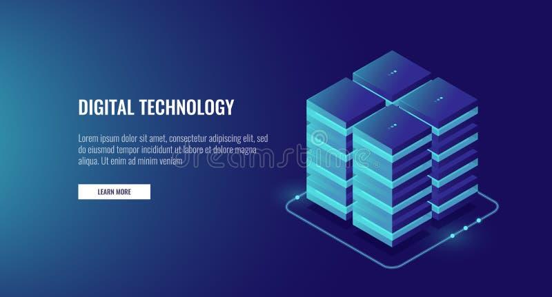 Το δωμάτιο κεντρικών υπολογιστών, στοιχεία σύννεφων καλύπτει την αποθήκευση, τα μεγάλα στοιχεία - έννοια επεξεργασίας, τη δικτύωσ απεικόνιση αποθεμάτων
