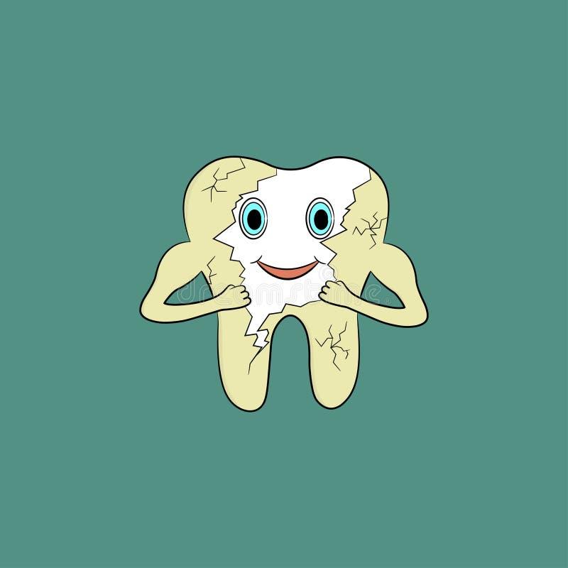 Το δόντι κινούμενων σχεδίων ξεφορτώνεται την κίτρινη πινακίδα στο σμάλτο απεικόνιση αποθεμάτων