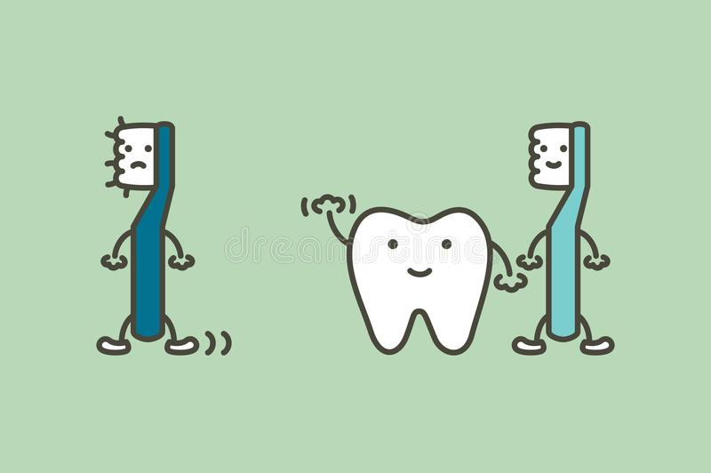 Το δόντι λέει αντίο την παλαιά αλλαγή οδοντοβουρτσών σε νέα για τα υγιή δόντια, οδοντική έννοια προσοχής ελεύθερη απεικόνιση δικαιώματος