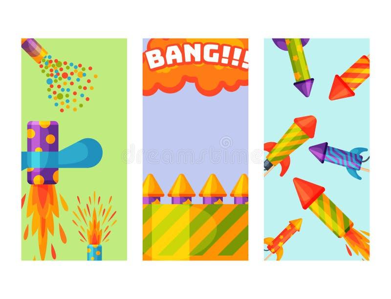 Το δώρο καρτών γιορτών γενεθλίων πτερυγίων φυλλάδιων πυραύλων πυροτεχνουργίας πυροτεχνημάτων γιορτάζει τα διανυσματικά εργαλεία φ διανυσματική απεικόνιση