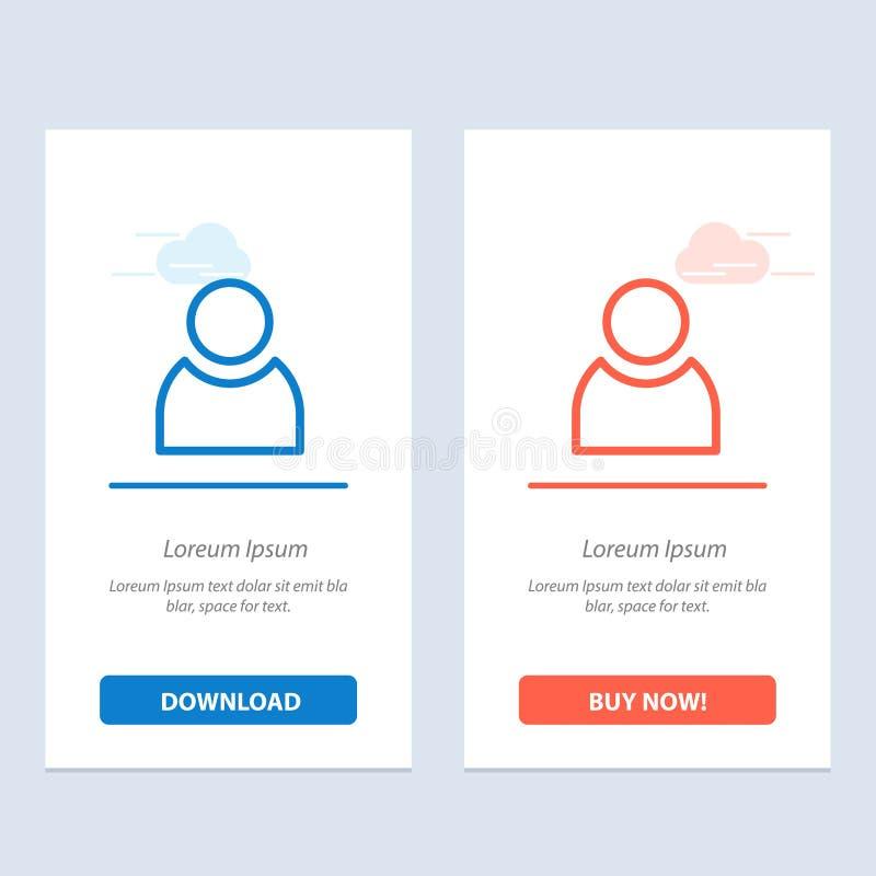 Το είδωλο, ο χρήστης, βασικοί μπλε και το κόκκινο μεταφορτώνουν και αγοράζουν τώρα το πρότυπο καρτών Widget Ιστού διανυσματική απεικόνιση