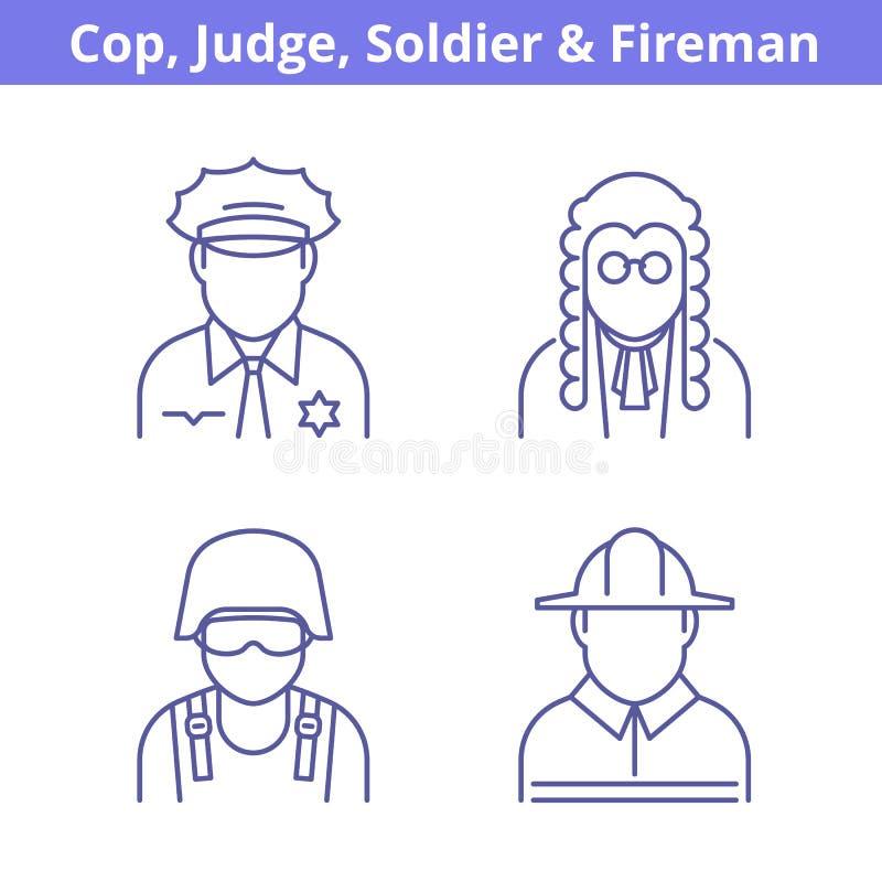 Το είδωλο επαγγελμάτων έθεσε: δικαστής, αστυνομικός, πυροσβέστης, στρατιώτης απεικόνιση αποθεμάτων