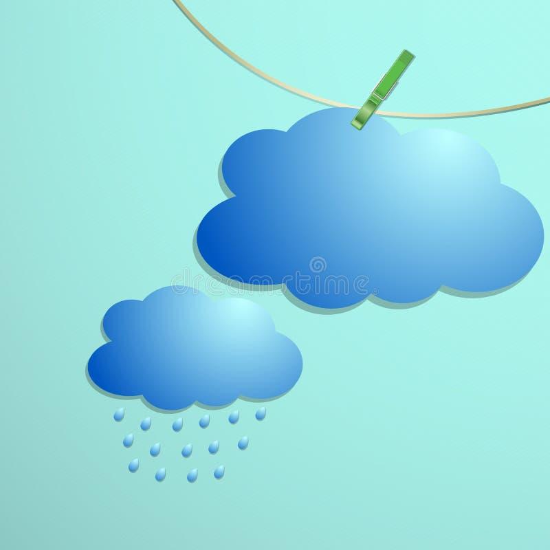 Το εικονίδιο απελευθερώσεων σύννεφων και βροχής κρεμά στη συμβολοσειρά απεικόνιση αποθεμάτων