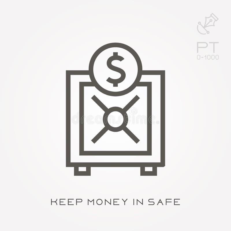 Το εικονίδιο γραμμών κρατά τα χρήματα στο χρηματοκιβώτιο ελεύθερη απεικόνιση δικαιώματος