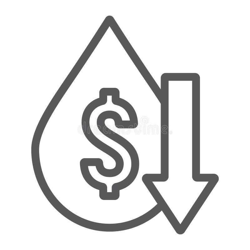 Το εικονίδιο γραμμών πτώσεων τιμών πετρελαίου, η κρίση και τα καύσιμα, πετρέλαιο κοστίζουν το χαμηλό σημάδι, διανυσματική γραφική απεικόνιση αποθεμάτων