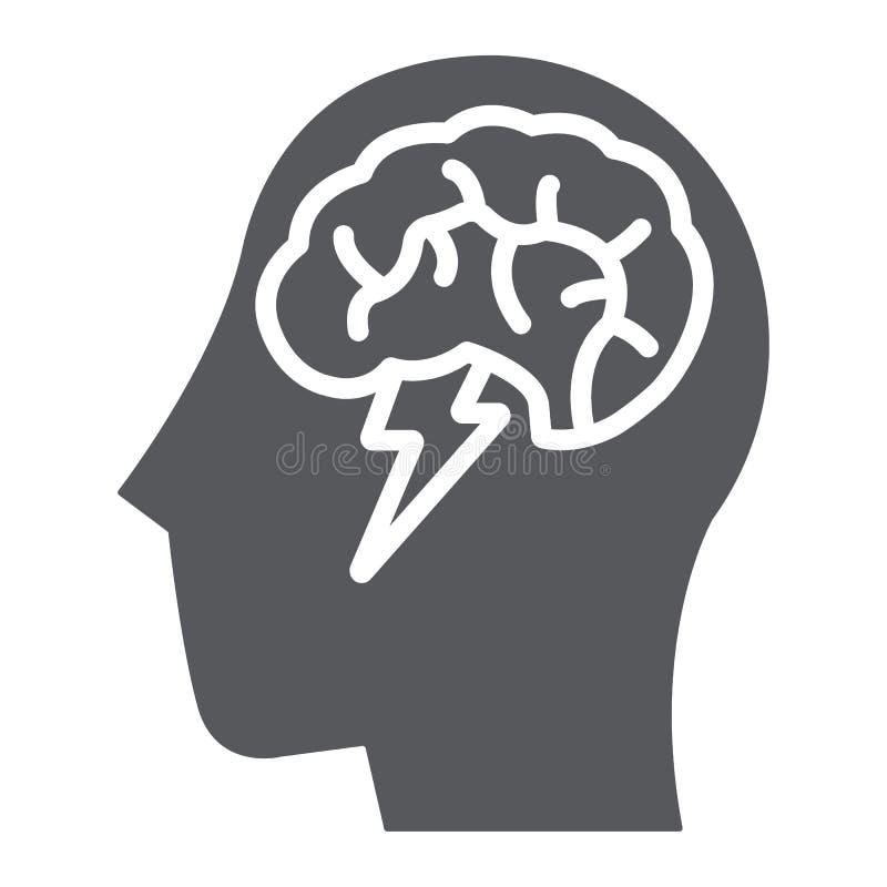 Το εικονίδιο, δημιουργικός και η ιδέα, ο εγκέφαλος και η βροντή καταιγισμού ιδεών glyph υπογράφουν, διανυσματική γραφική παράστασ διανυσματική απεικόνιση
