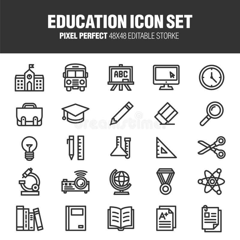 το εικονίδιο εκπαίδευσης ανασκόπησης απομόνωσε το καθορισμένο λευκό απεικόνιση αποθεμάτων