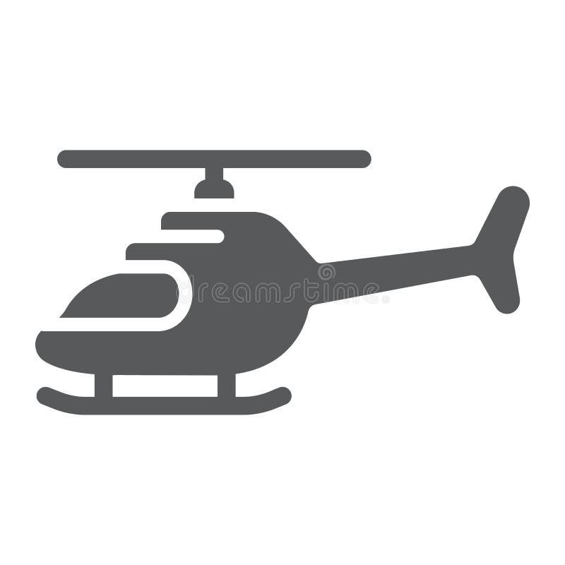 Το εικονίδιο ελικοπτέρων glyph, η μεταφορά και ο μπαλτάς, αεροσκάφη υπογράφουν, διανυσματική γραφική παράσταση, ένα στερεό σχέδιο απεικόνιση αποθεμάτων