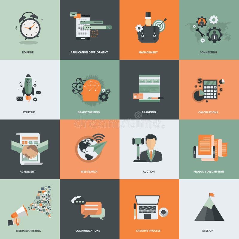 Το εικονίδιο επιχειρήσεων και διαχείρισης έθεσε για την ανάπτυξη ιστοχώρου και τις κινητές τηλεφωνικές υπηρεσίες και apps Επίπεδο διανυσματική απεικόνιση