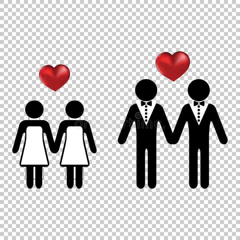 Το εικονίδιο ζεύγους ή δύο εραστών ανθρώπων απλό με μια διανυσματική καρδιά αγαπά τις σκιαγραφίες Γαμήλιος γάμος των λεσβιών ή τω απεικόνιση αποθεμάτων