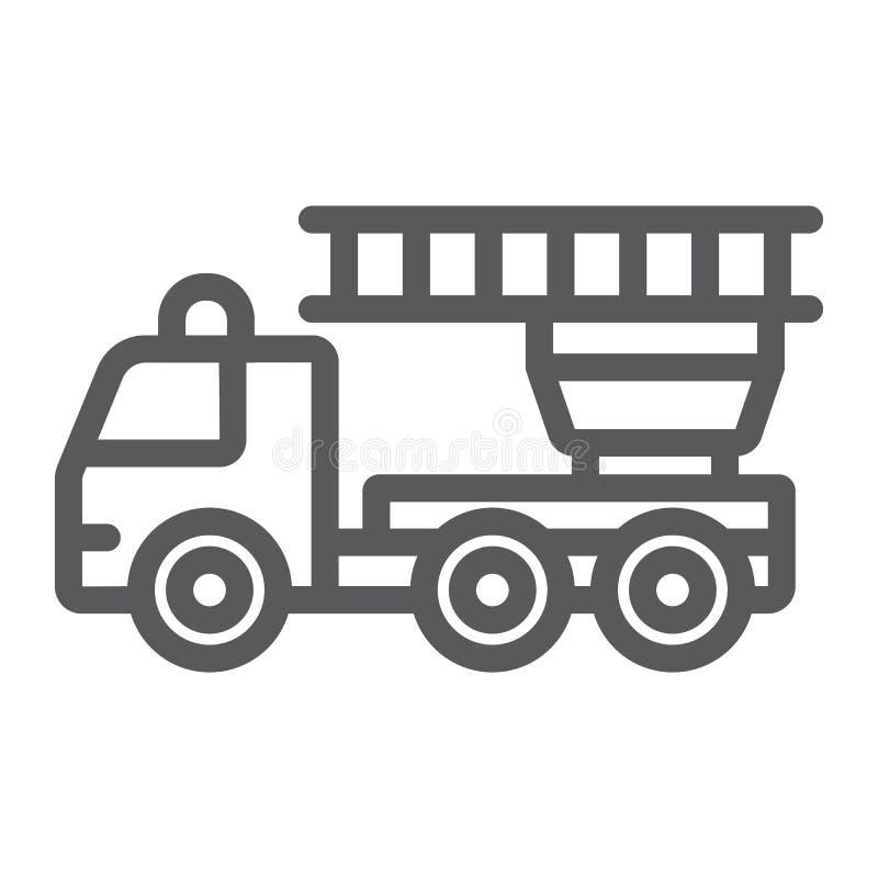 Το εικονίδιο, η έκτακτη ανάγκη και η πυρκαγιά γραμμών πυροσβεστικών αντλιών, firetruck υπογράφουν, διανυσματική γραφική παράσταση ελεύθερη απεικόνιση δικαιώματος