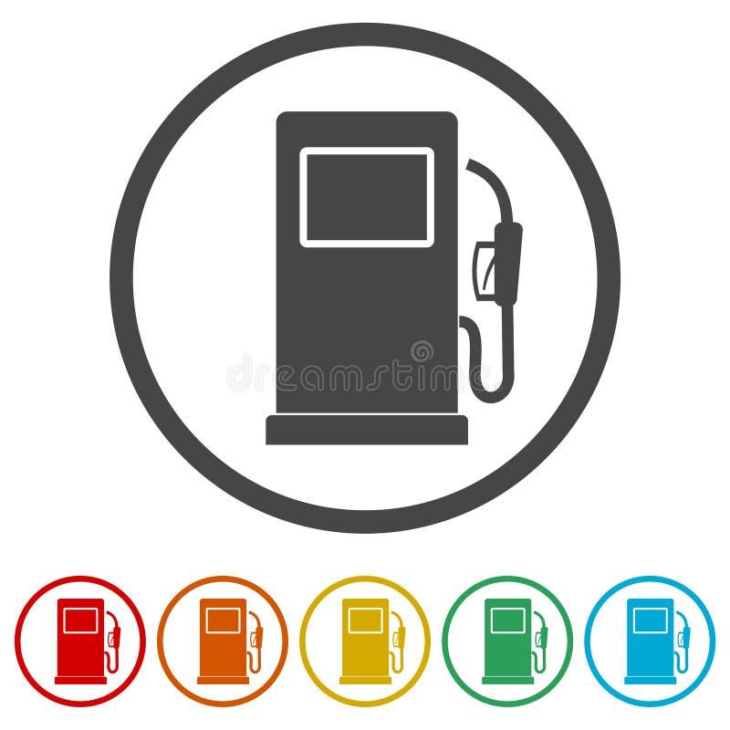 Το εικονίδιο, η βενζίνη και το diesel αντλιών αερίου τροφοδοτούν με καύσιμα το σύμβολο, 6 χρώματα συμπεριλαμβανόμενα ελεύθερη απεικόνιση δικαιώματος