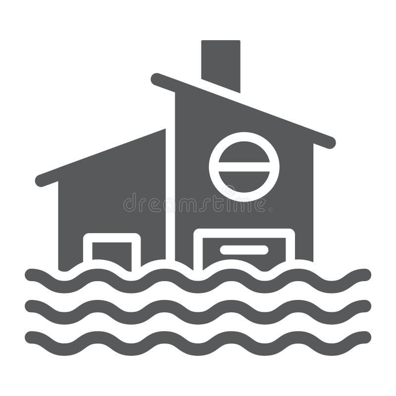 Το εικονίδιο, η καταστροφή και το σπίτι πλημμυρών glyph, πλημμύρισαν το σημάδι σπιτιών, διανυσματική γραφική παράσταση, ένα στερε διανυσματική απεικόνιση