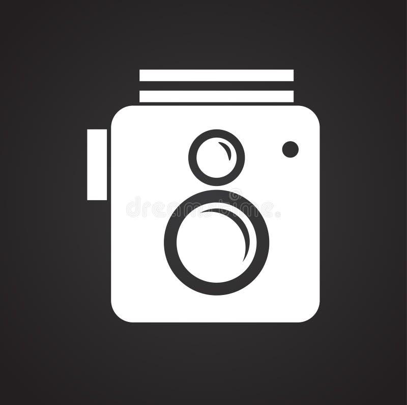 Το εικονίδιο καμερών φωτογραφιών έθεσε στο μαύρο υπόβαθρο για το γραφικό και σχέδιο Ιστού, σύγχρονο απλό διανυσματικό σημάδι μπλε διανυσματική απεικόνιση