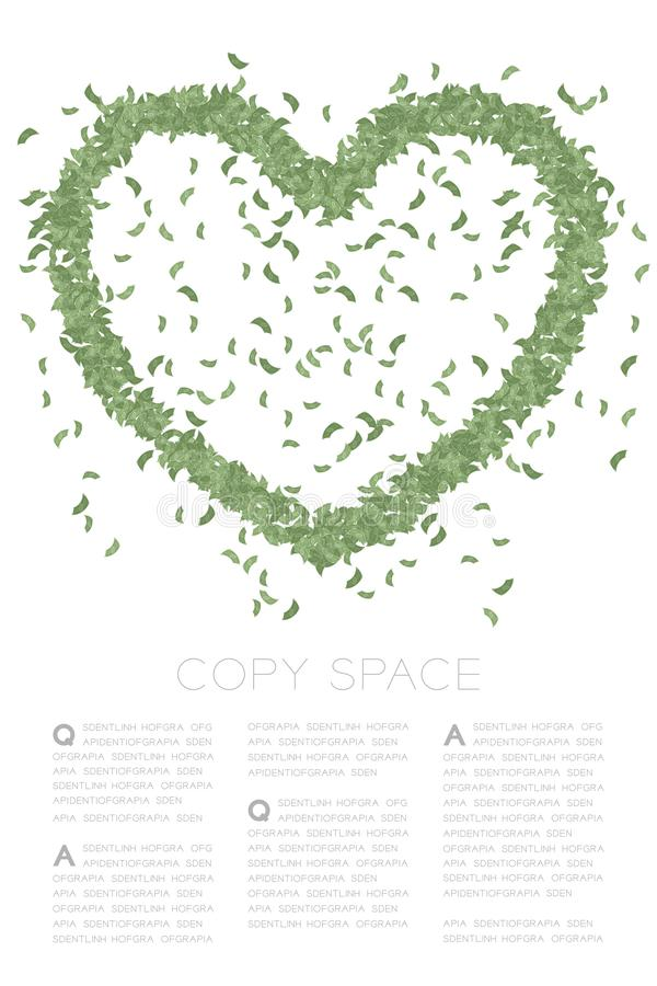 Το εικονίδιο καρδιών έκανε frome το αφηρημένο σχέδιο τραπεζογραμματίων, πράσινη έγχρωμη εικονογράφηση σχεδίου έννοιας ημέρας του  διανυσματική απεικόνιση